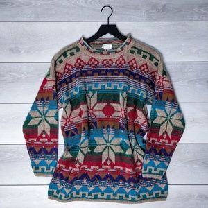 Needles&Yarn Rainbow Snowflake Vintage Sweater Lg